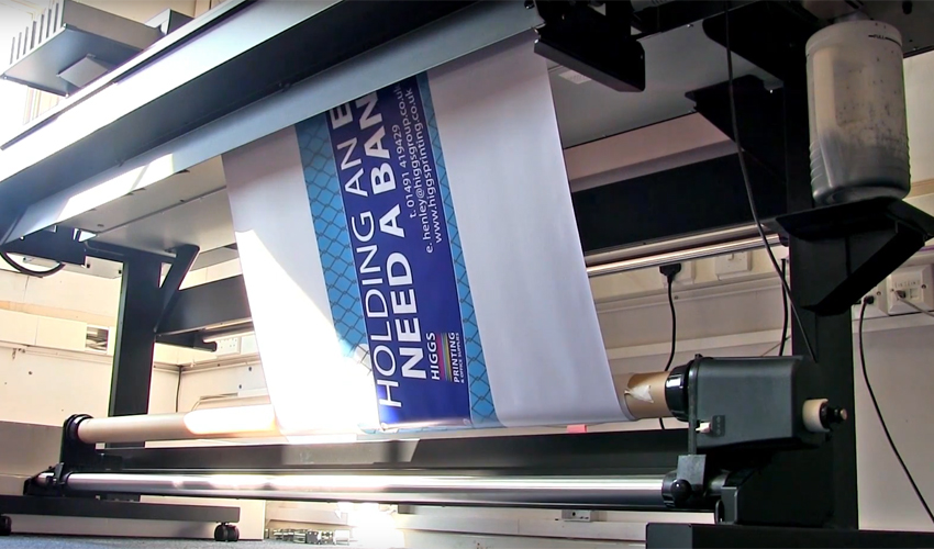 Large format printing of a banner