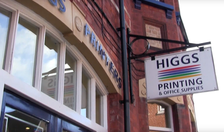 The shop front of Higgs and Co Printers Limited